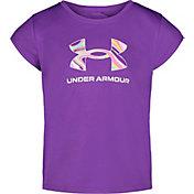 Under Armour Little Girls' Big Logo Print Fill Graphic T-Shirt