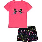 Under Armour Little Girls' Splatter Logo T-Shirt and Shorts Set