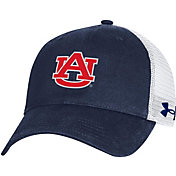 Under Armour Men's Auburn Tigers Blue Washed Adjustable Trucker Hat