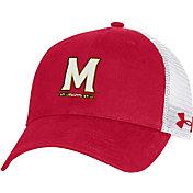 Under Armour Men's Maryland Terrapins Red Washed Adjustable Trucker Hat