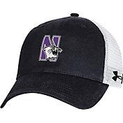 Under Armour Men's Northwestern Wildcats Black Washed Adjustable Trucker Hat