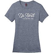 Up North Trading Company Women's Heathered Navy Up North Script Tee