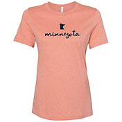 Up North Trading Company Women's Orange MN Slip Script Tee