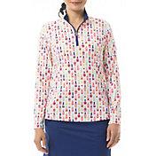 San Soleil Women's SolShine Mock Neck Long Sleeve Golf Shirt