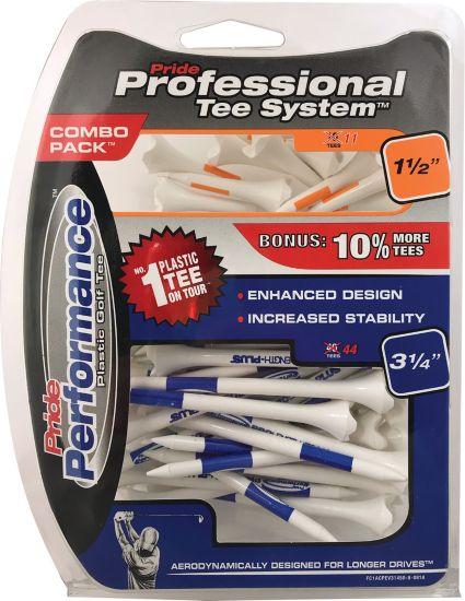 Pride PTS Evolution 1 1/2'' & 3 1/4'' White Golf Tees - 50 Pack