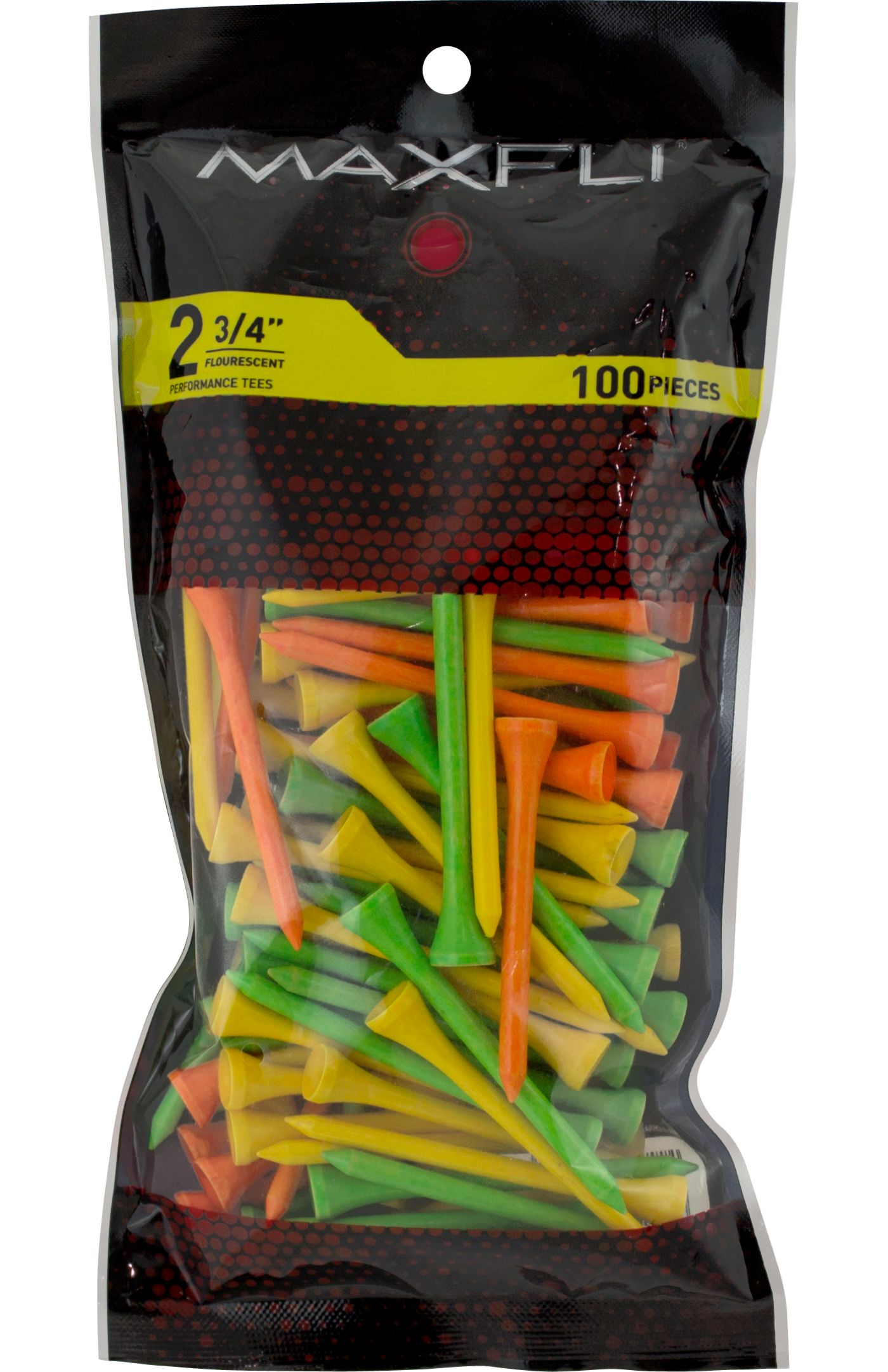Maxfli 2.75'' Fluorescent Golf Tees – 100-Pack