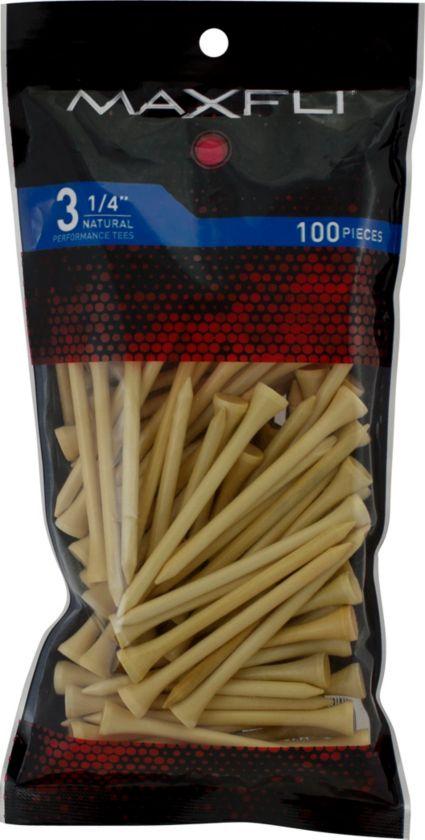 Maxfli 3 1/4'' Natural Golf Tees - 100 Pack