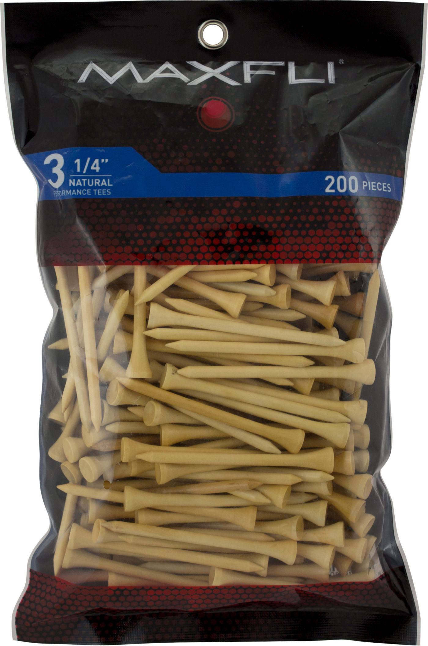 Maxfli 3 1/4'' Natural Golf Tees - 200 Pack