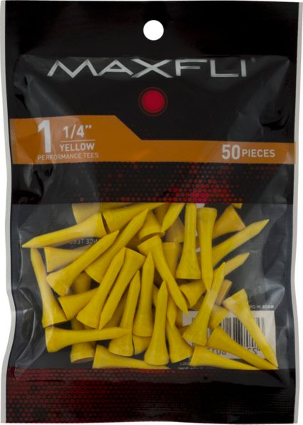 Maxfli 1 1/4'' Yellow Golf Tees - 50 Pack