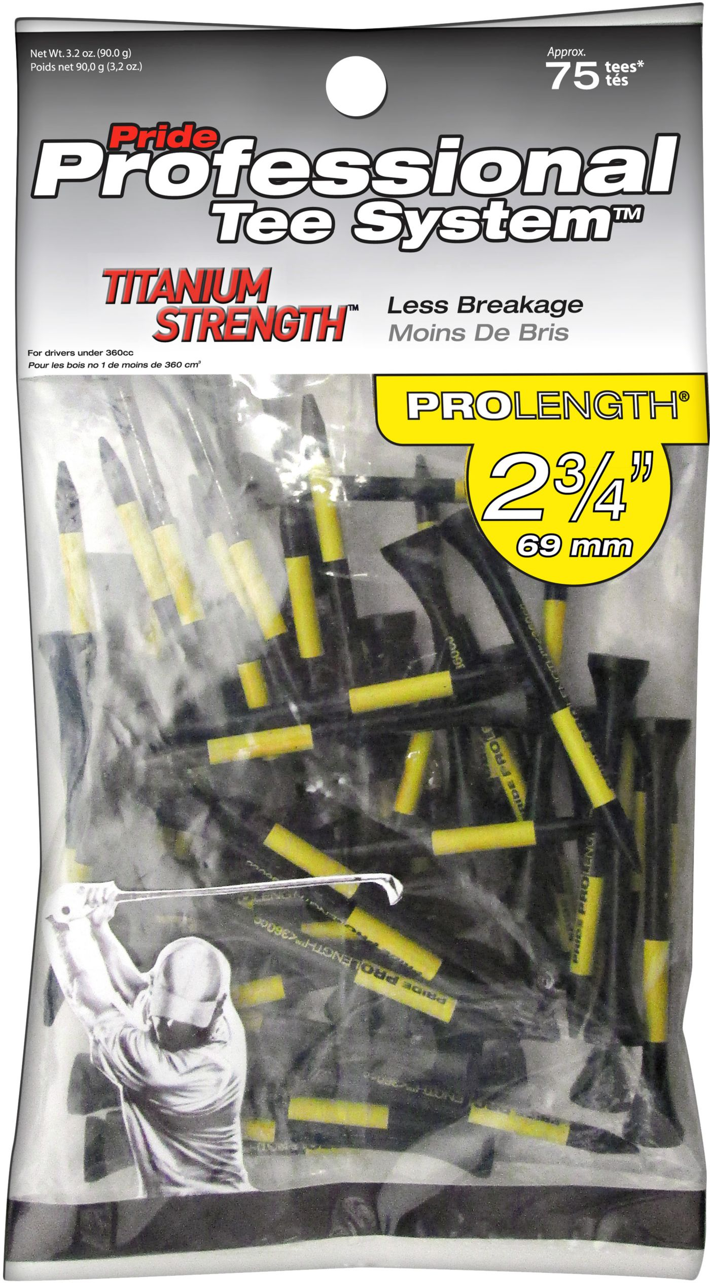Pride PTS Titanium Strength 2 3/4'' Black Golf Tees - 75 Pack
