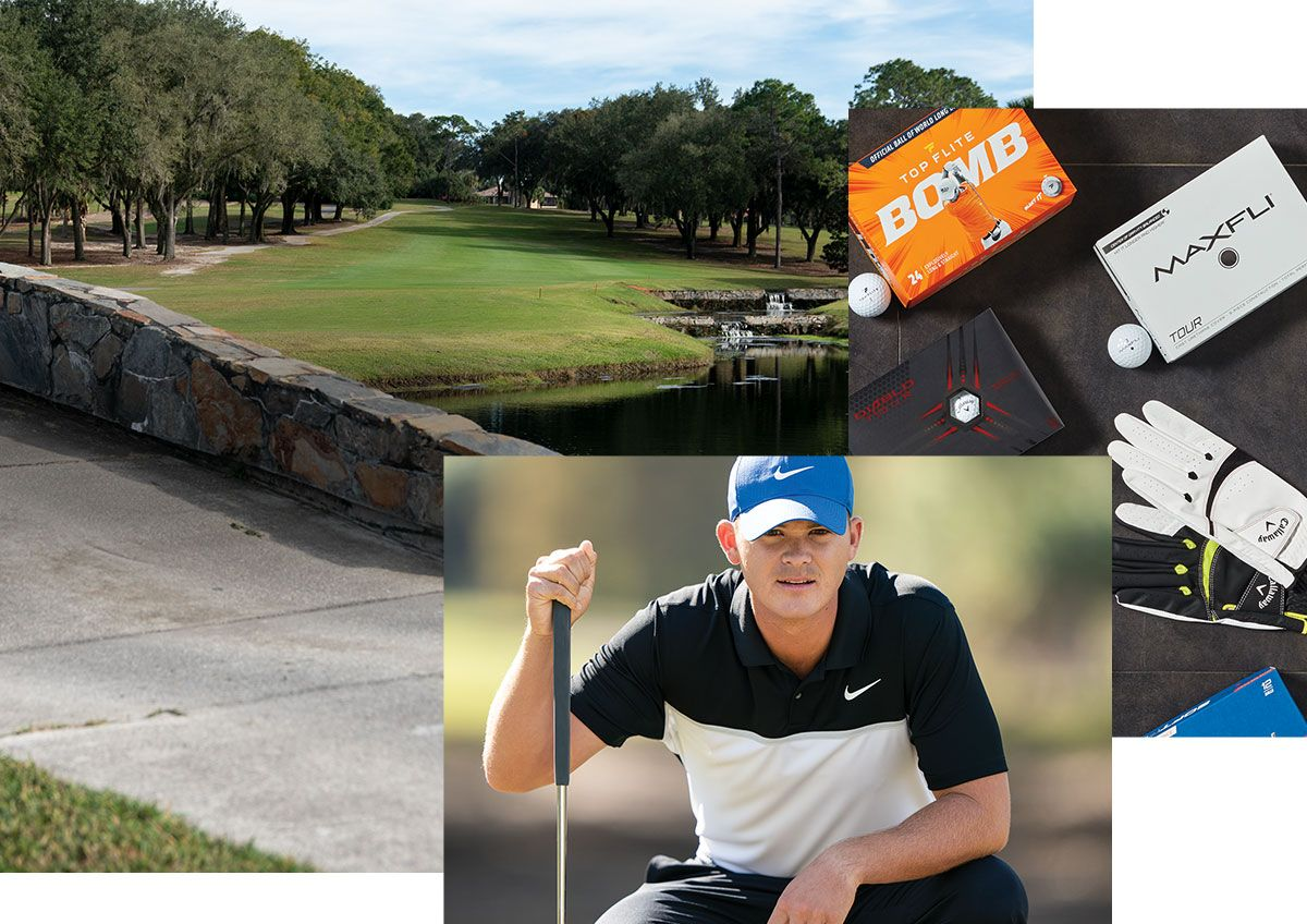 Pictures Of A Golf Course, A Golfer In Nike Apparel And An Array Of Golf Balls