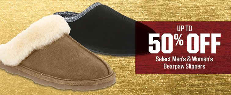 Up To 50% Off - Select Men's & Women's Bearpaw Slippers