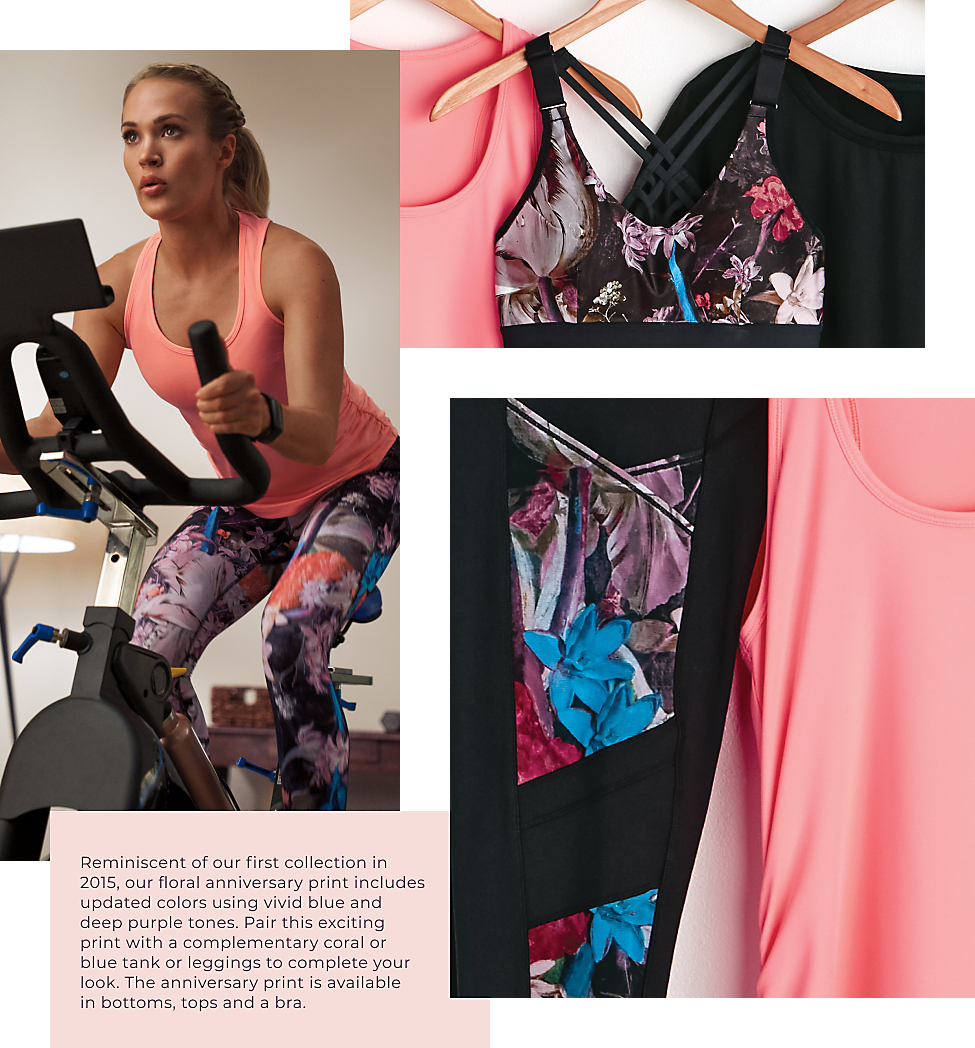 Reminiscent of our first collection in 2015, our floral anniversary print includes updated colors using vivid blue and deep purple tones. Pair this exciting print witha complimentary coral or blue tank or leggings to complete your look. The anniversary print is available in bottoms, tops and a bra.