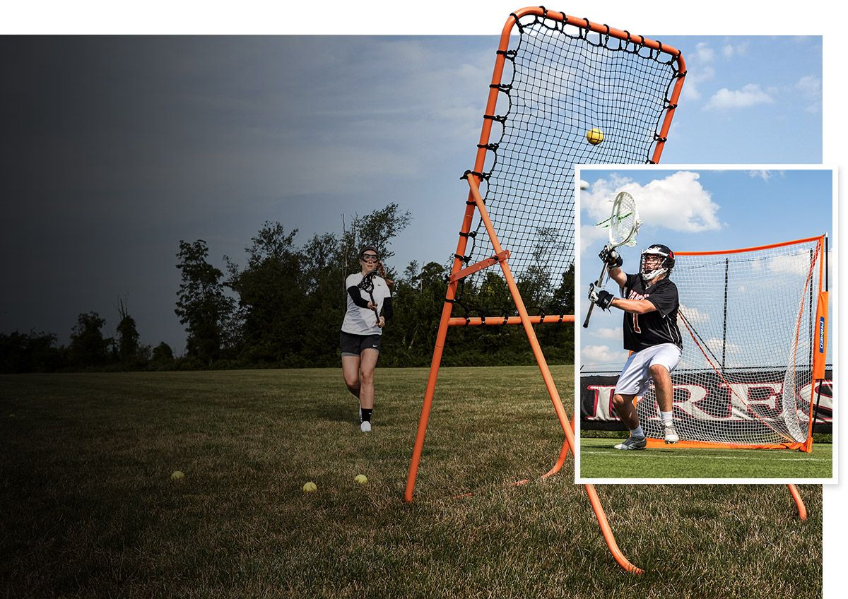 A female lacrosse player using a rebounder with an inset image of a goalie in front of a goal.