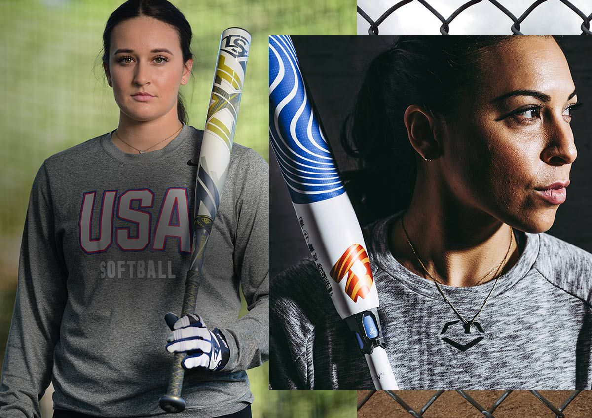 Image features the latest fastpitch offerings from Louisville slugger and DeMarini.