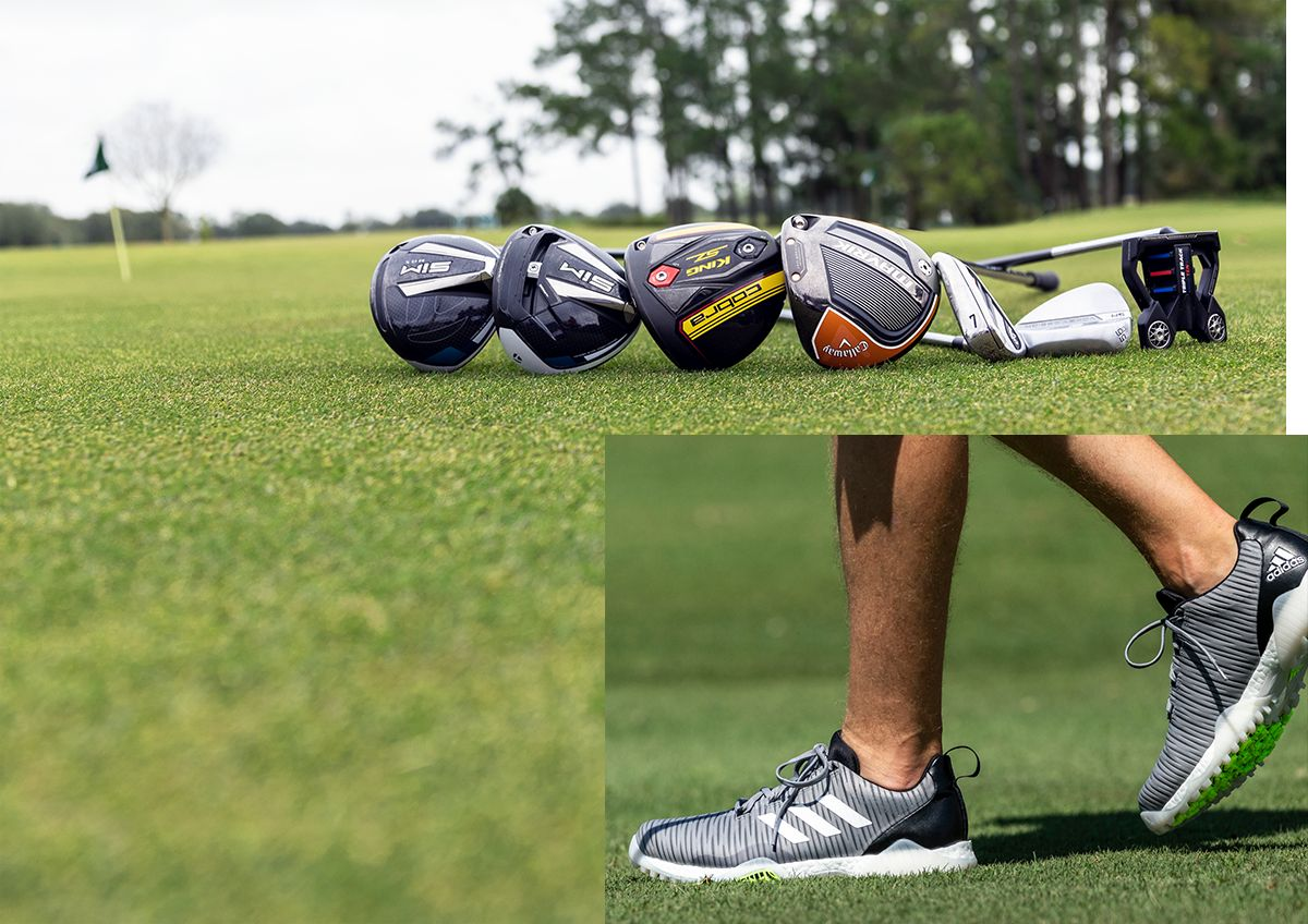 A Collage Featuring Golf Clubs And Golf Shoes