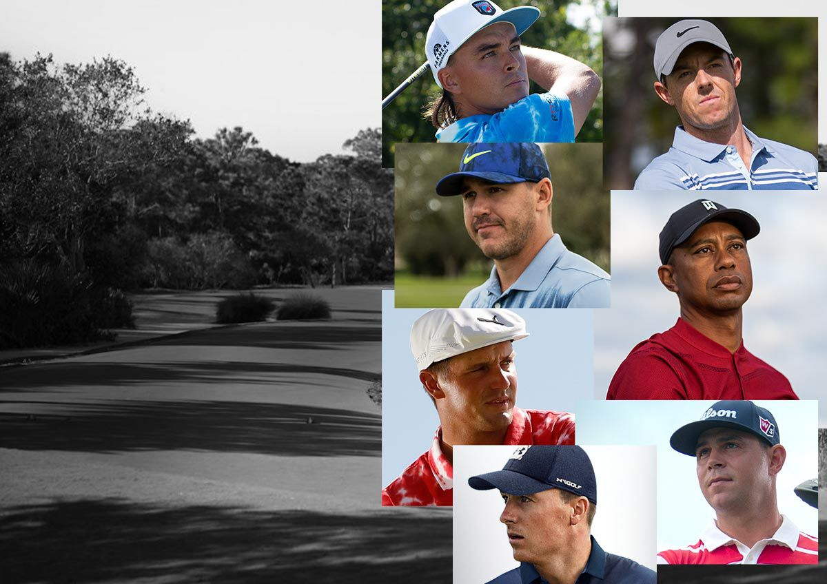A Collage Featuring Images Of Various Professional Golfers