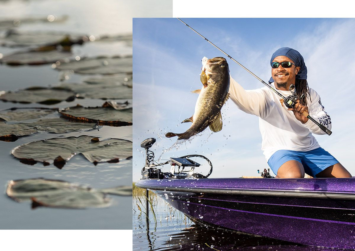 Two photos, with one showing an angler smiling while lipping a trophy-size largemouth bass, the other showing a background of lily pads.