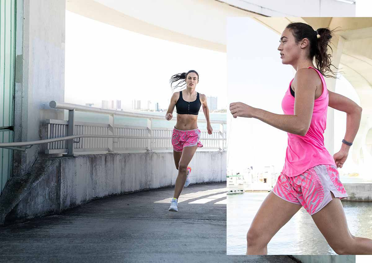 A duel image of a woman running outside wearing Nike Tempo Shorts.