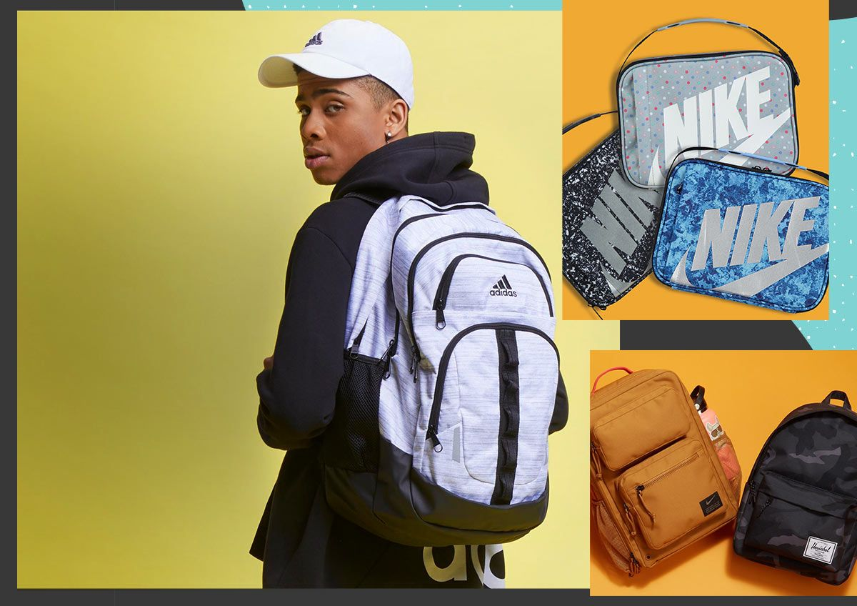 Multiple images including a young man carrying a backpack, a collection of lunch boxes and a display of backpacks.