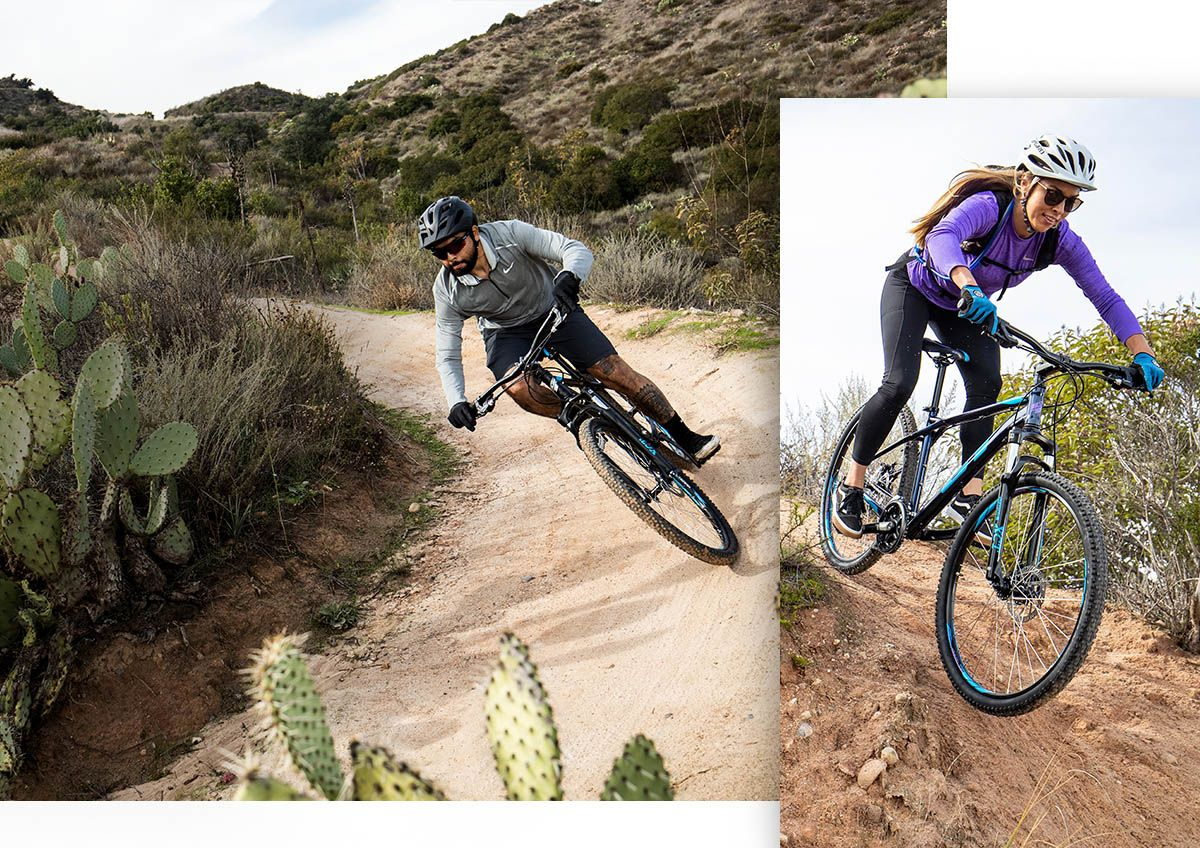 Two photos, with one showing a man whipping around a corner on a mountain bike in the southwest, the other showing a woman riding her mountain bike on a hilly trail along the coast.