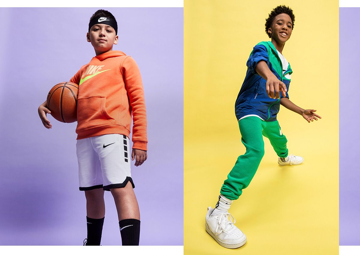 Young boys in colorful Nike apparel.