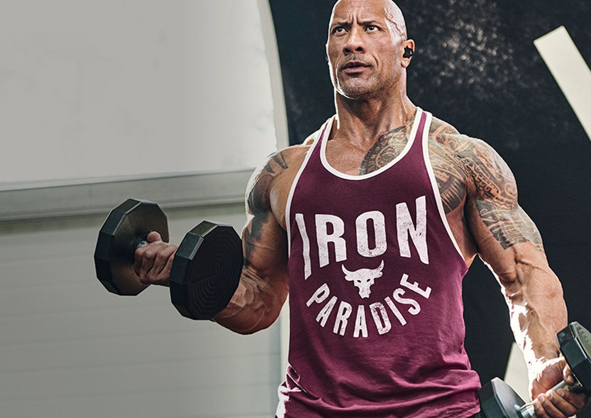 Image shows Dwayne the Rock Johnson working out in his signature line.