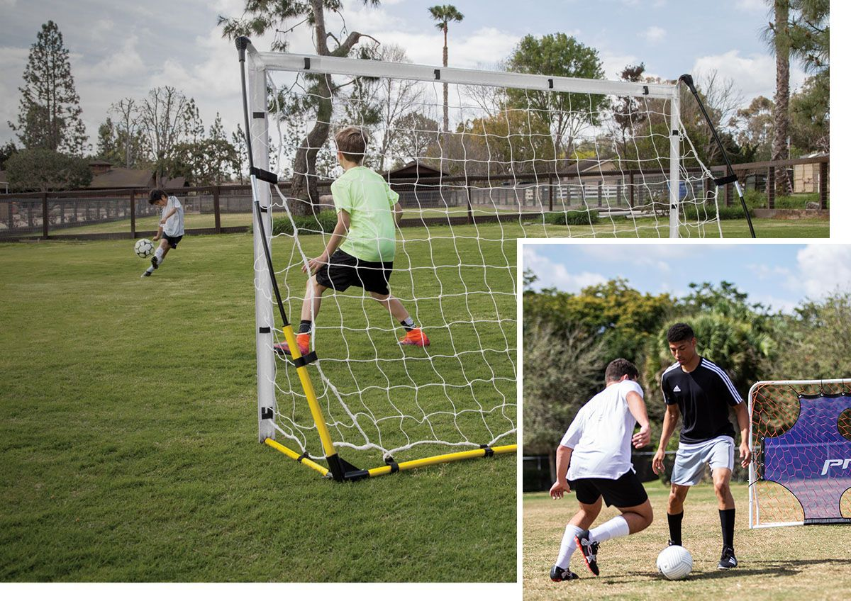 Images showing brothers practicing soccer with a goals and trainers.