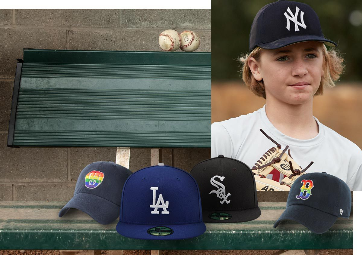 A selection of MLB hats with inset pictures of enthusiast players.