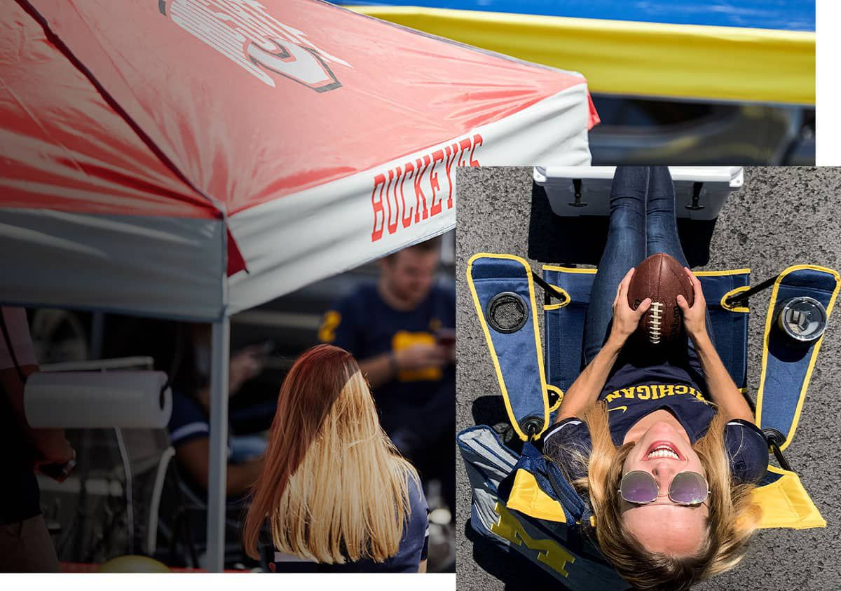 Multiple mages featuring licensed team tailgate gear including canopies, chairs and apparel.