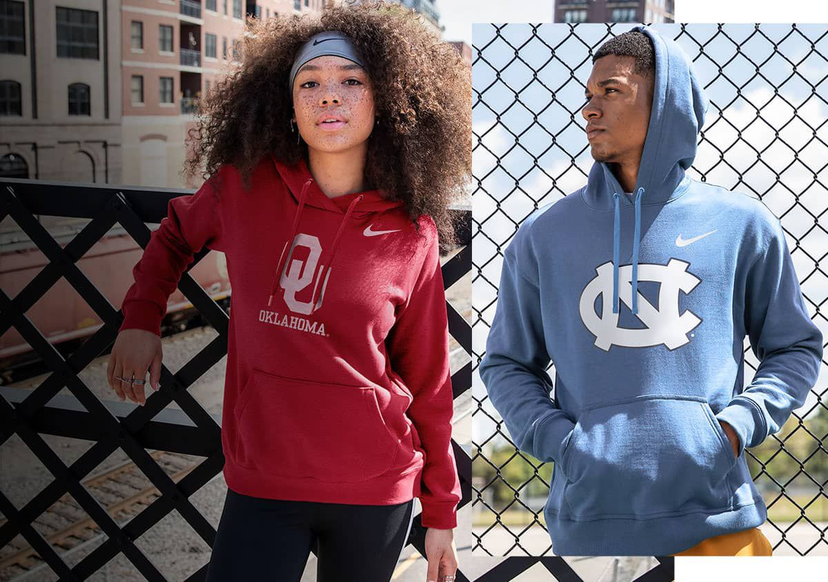 Image features the latest Nike NCAA fan gear.