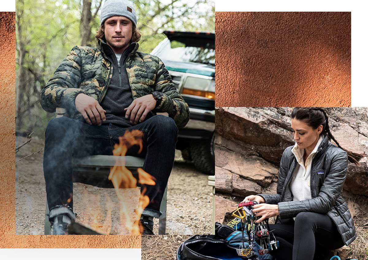 A man sitting by a fire wearing a The North Face Men's ThermoBall Eco Soft Shell Jacket and a The North Face Men's Leather Dock Worker Recycled Beanie and a woman going through her rock climbing gear wearing a Patagonia Women's Radalie Jacket and a Patagonia Women's Re-Tool Snap-T Fleece Pullover.