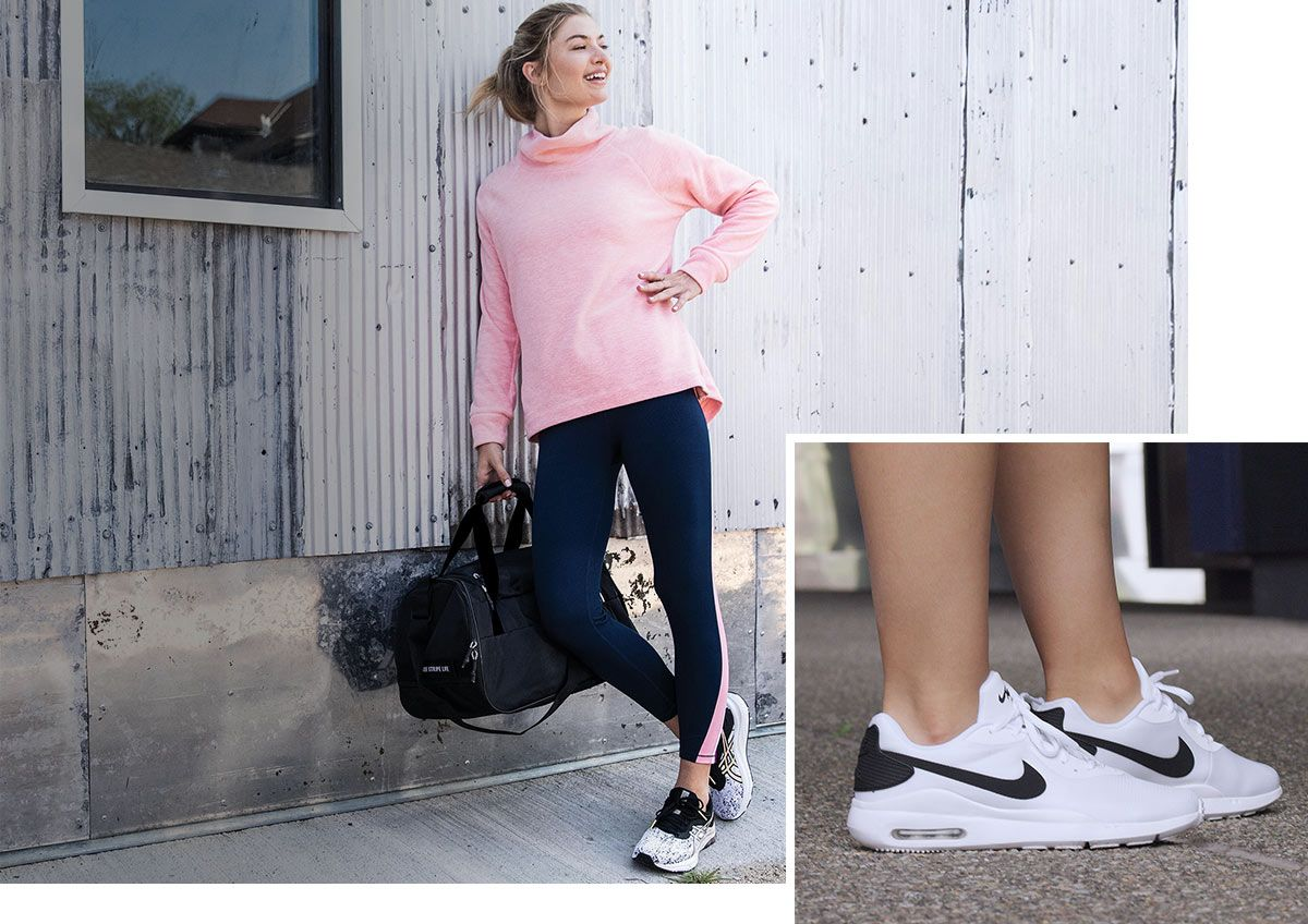 A woman leaning against a wall, holding a gym bag and wearing athletic apparel and another image of Nike shoes.