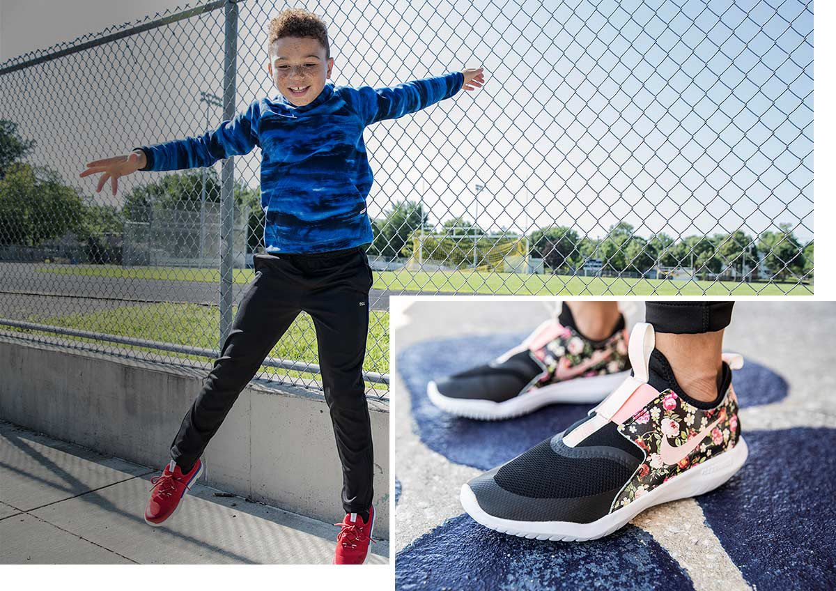 A boy jumping in front of a soccer field, wearing athletic apparel and another image of Nike shoes for kids.