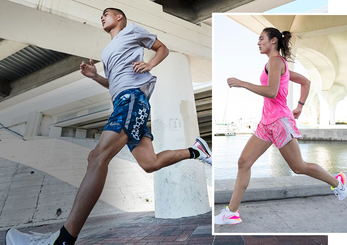 A duel image of a man and woman running under a bridge and wearing Nike running apparel.