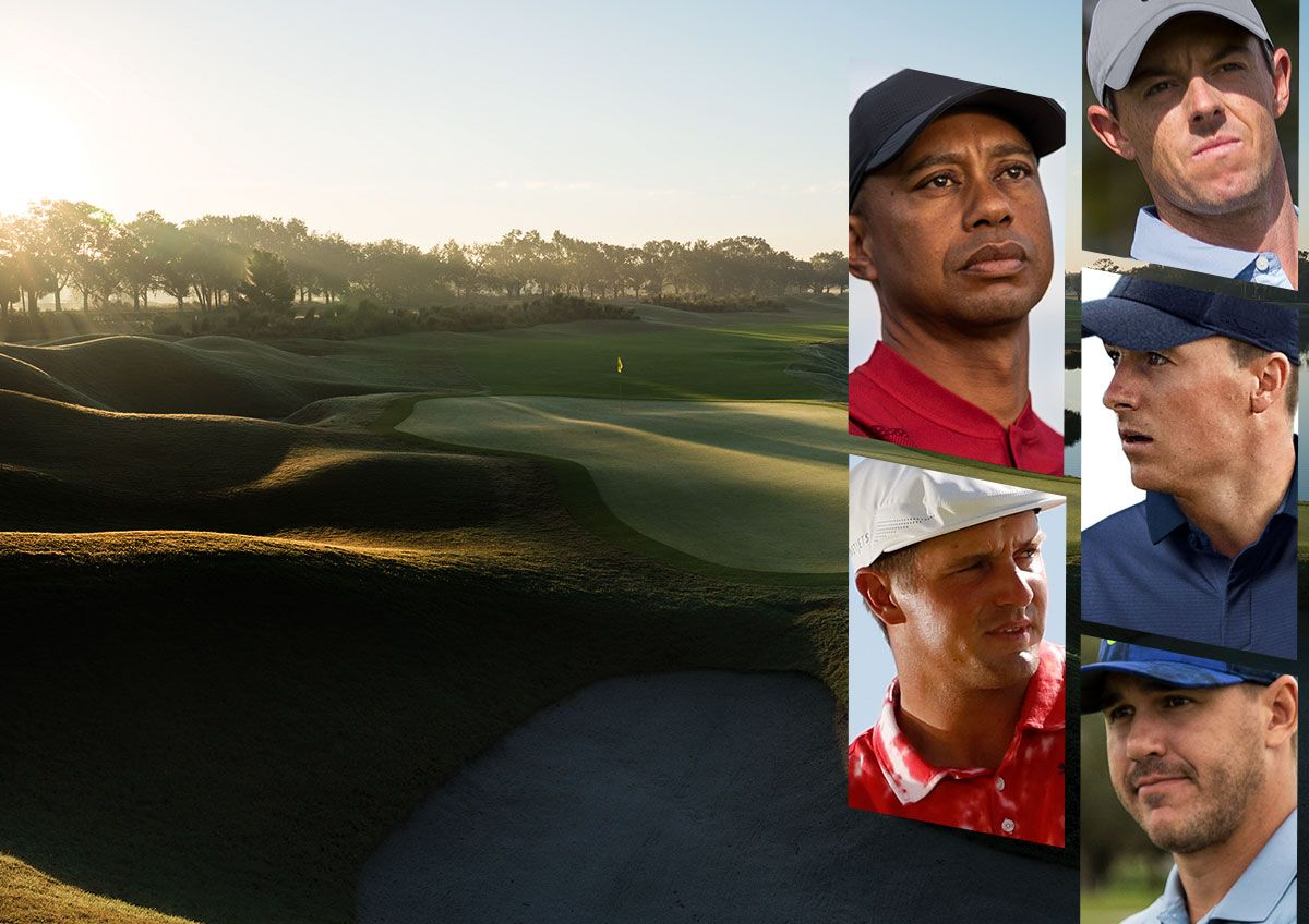 A Collage Of Images Featuring A Golf Course And Images Of Professional Golfers