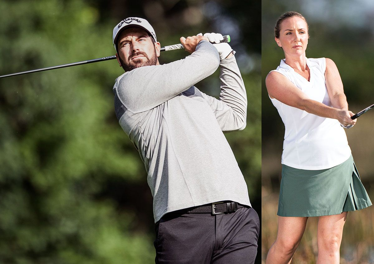 A male and female golfer each swinging a golf driver.
