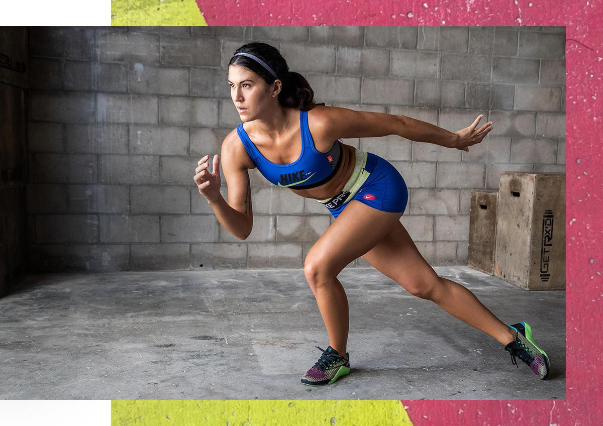 A woman exercising in Nike apparel.