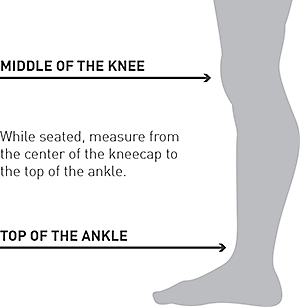 image of leg guards showing middle of the knee and top of the ankle - contains text - while seated, measure from the center of the kneecap to the top of the ankle.