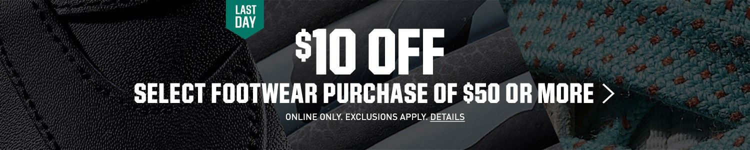 $10 Off Select Footwear Purchase Of $50 Or More- Last Day