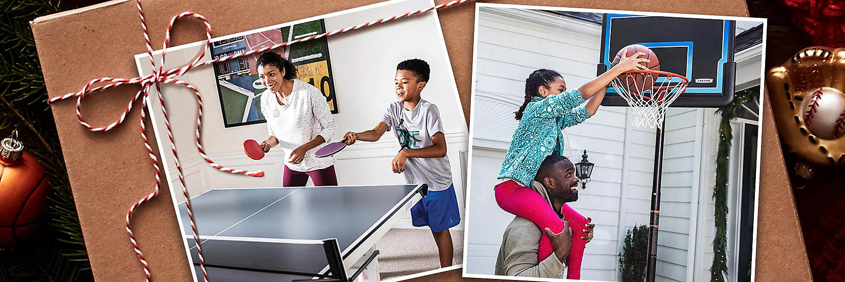 Two photographs on a gift box showing a child and adult playing table tennis and basketball.
