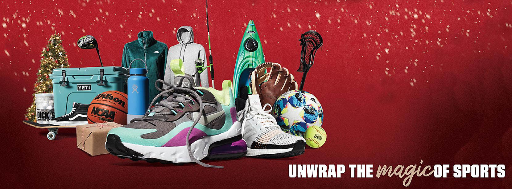 Festive collection of favorite holiday gifts under the banner of Unwrap the Magic of Sports.