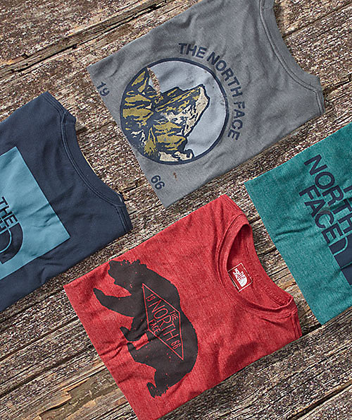 A lineup of five neatly folded t-shirts shown against a wooden dock, featuring variations of The North Face workmark with accompanying mountain and bear graphics.