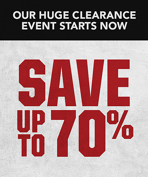 Banner explaining the tent sale clearance event, with the possibility of saving as much as 70% on select gear, apparel and more.