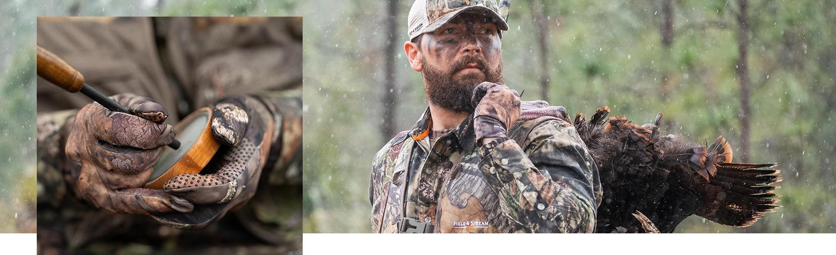 Pair of images showing a hunter holding a slate friction turkey call and a hunter wearing Realtree Camo jacket and hat while carrying a dead turkey
