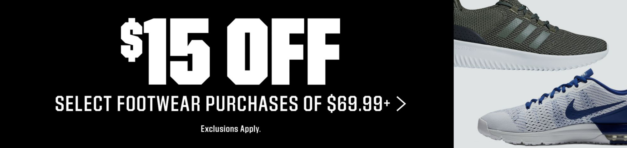 Select Footwear - $15 Off Purchase of $69.99 or More