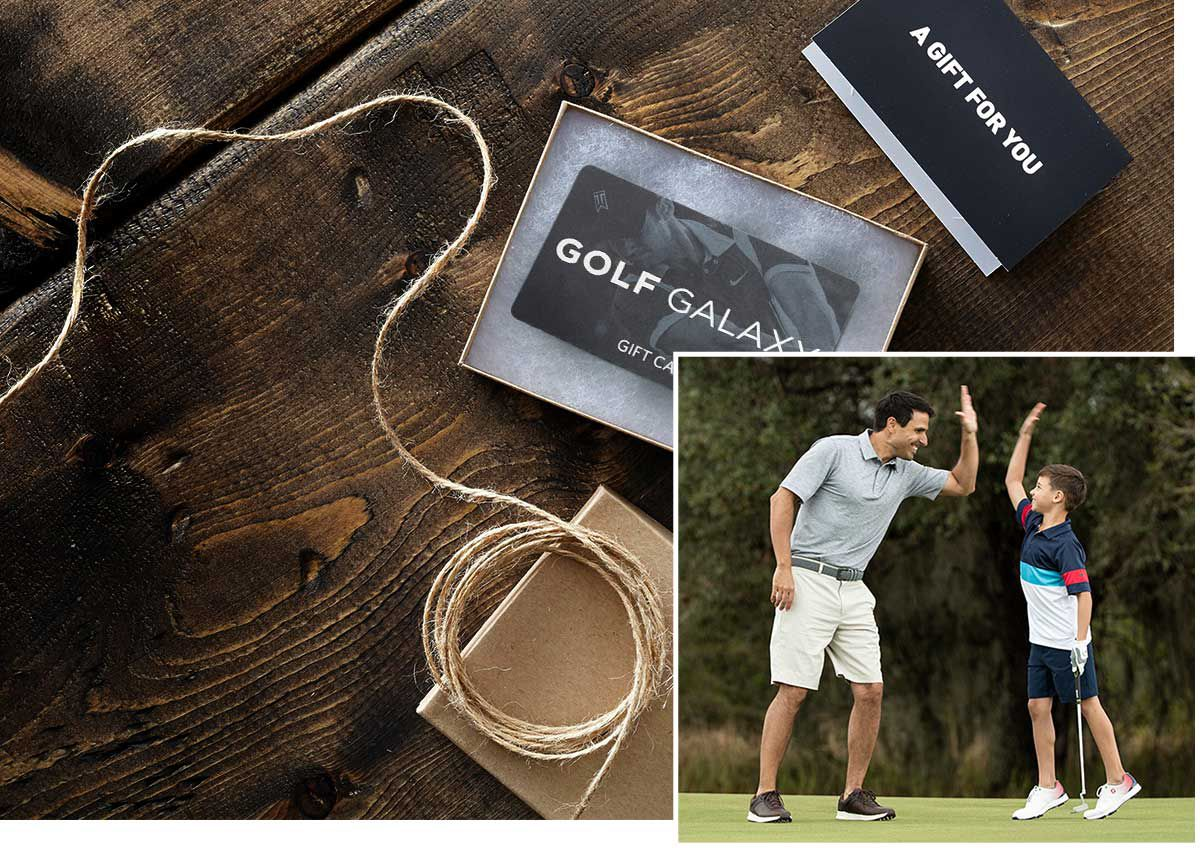 An image of a Golf Galaxy gift card offset with another inset image of a father and son on the green.