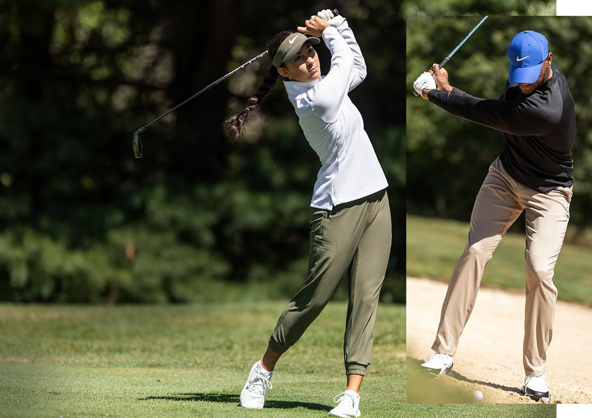 An Image Of A Man And A Woman Swinging Golf Clubs