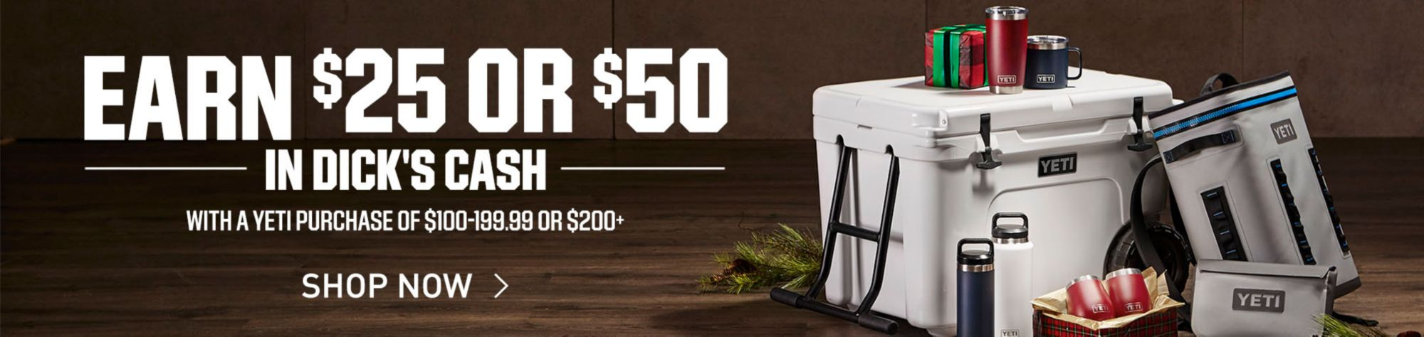 Earn $25 or $50 In DICK'S Cash With A Yeti Purchasef of $100-199.99 or $200+