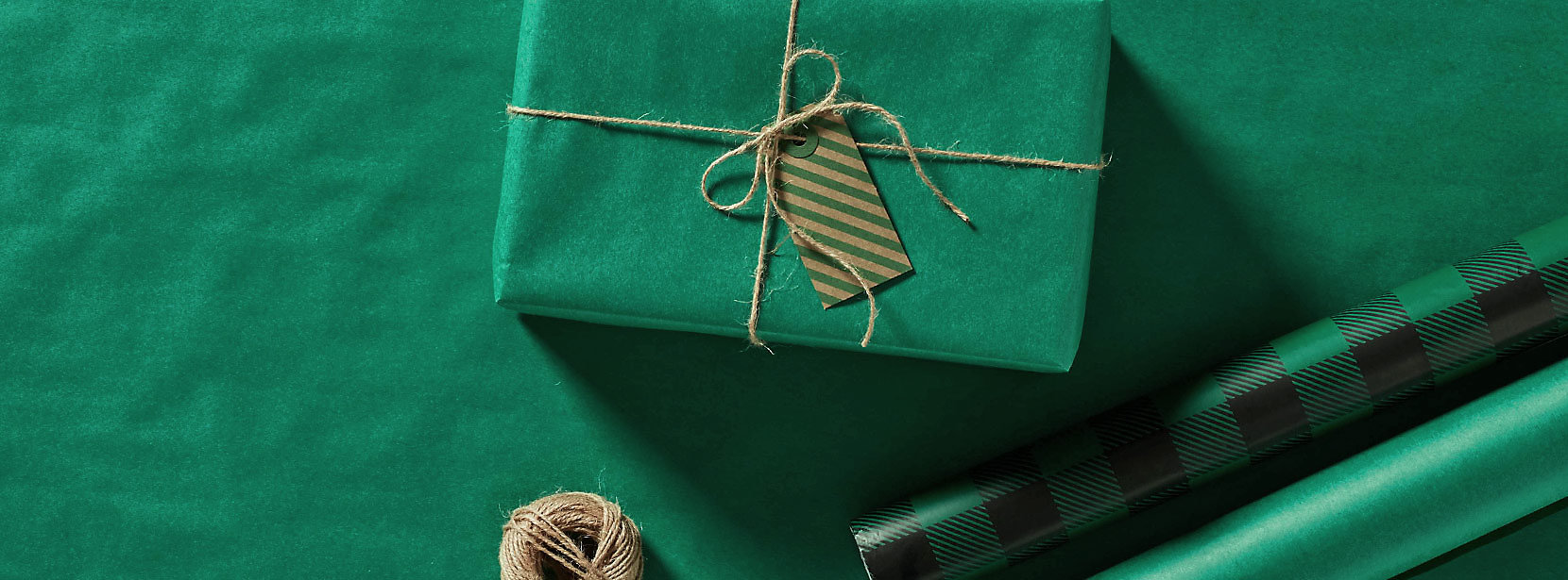 Green Gift Box and wrapping paper.